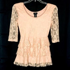 Rue21 Pink Lace Top with Ruffles- Small